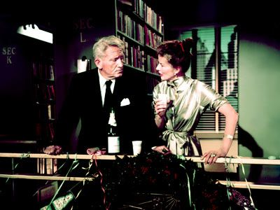 Desk Set (1957)Bunny Watson (Katharine Hepburn) and Peg Costello (Joan Blondell) are both happily employed by the Federal Broadcasting Network in the research department. If anyone needs to know something, anything from the names of Santa's reindeer to #information about the movie King Solomon's Mines, they're the ladies to ask.  #librarian #documentalistas