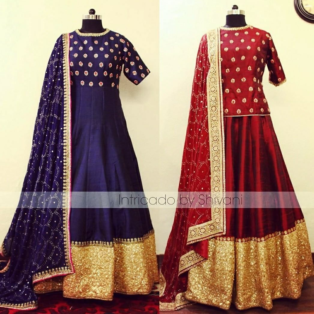 Zarodozi   sequins embroidered lehenga   anarkali in pure raw silk with heavy mukaish work dupatta. Can be customized in any color and size