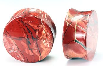 Painful Pleasures Heart Double Flare Red Agate Stone Plug Price Per 1