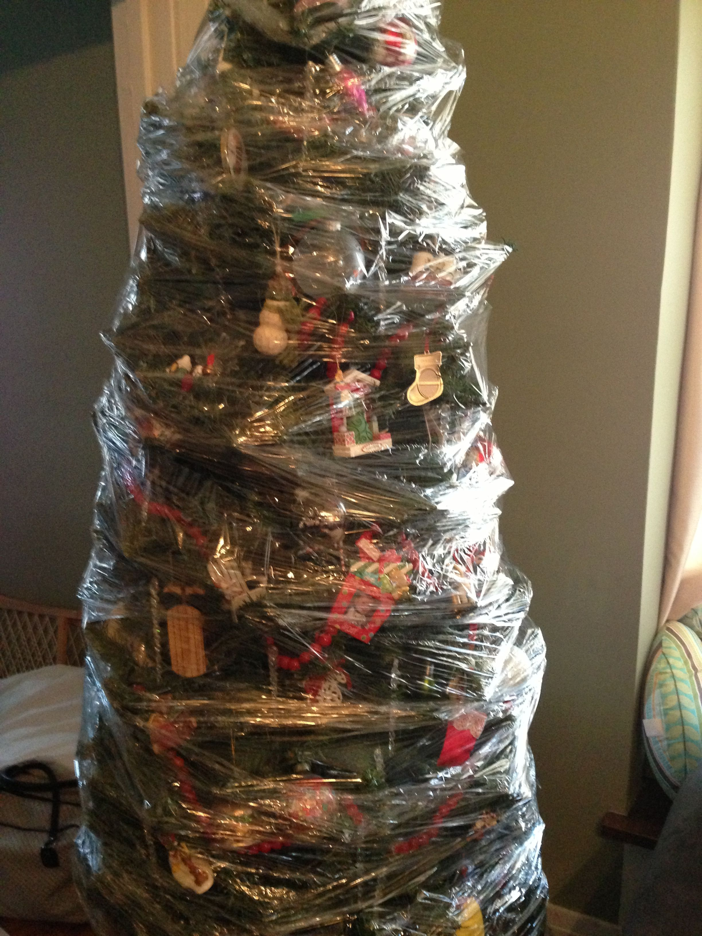 Easiest And Quickest Way To Store A Christmas Tree Saran Wrap It Ornaments And Christmas Ornament Storage Christmas Tree Storage Christmas Decoration Storage