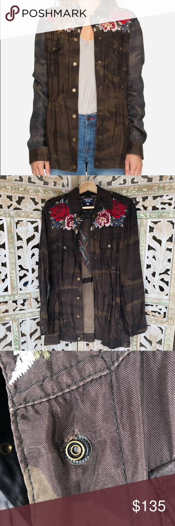 JOHNNY WAS Embroidered Drawstring Military Jacket ...