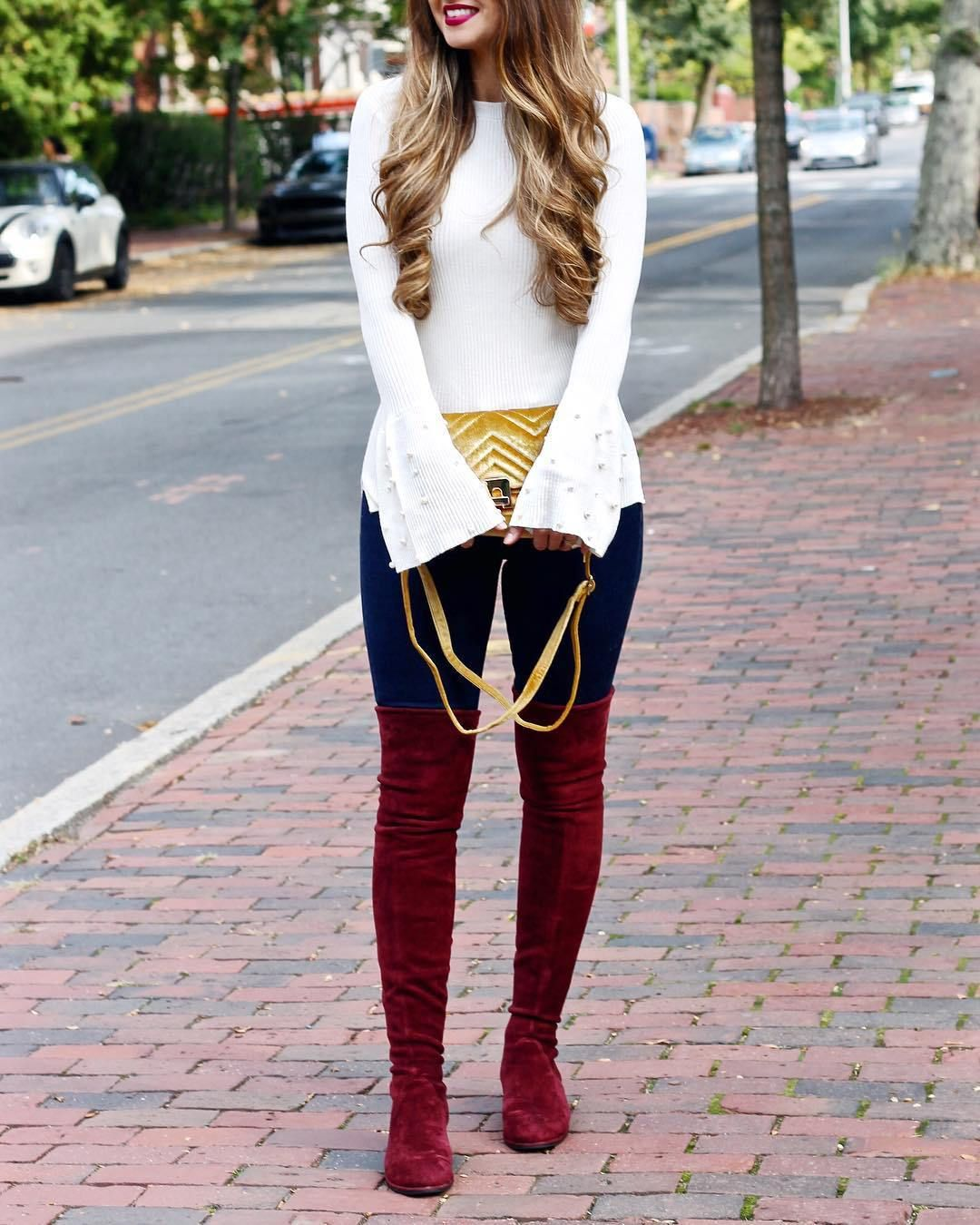 Burgundy boots outfit, Autumn fashion