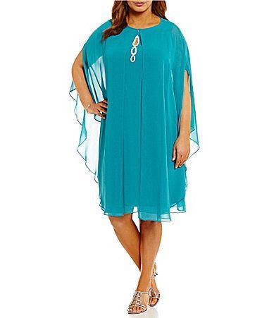 07929bba7a6 SL Fashions Plus Beaded HighNeck 2Piece Capelet Dress  Dillards ...