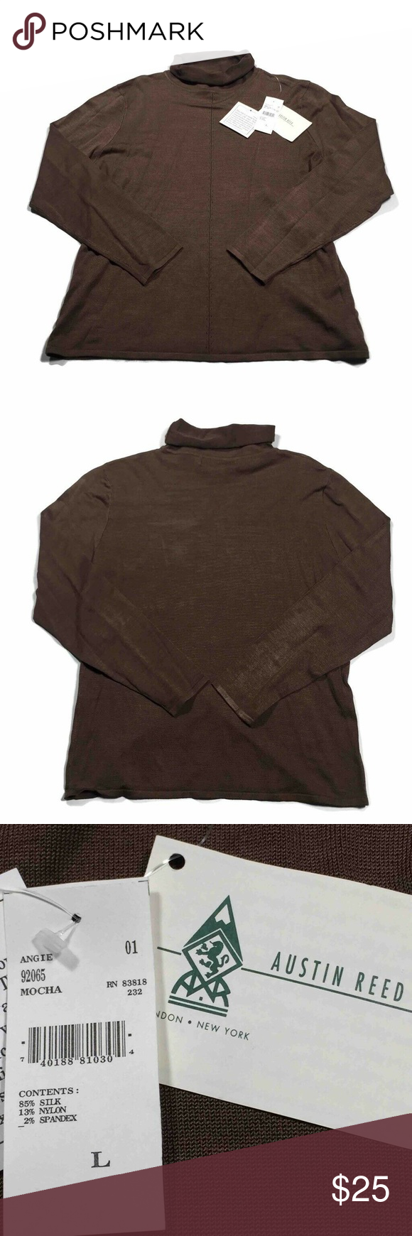 Austin Reed Sweater Mocha Brown Silk High Neck New Austin Reed Mens Pullover Mocha Long Sleeve High Neck Knit Stretch Sweat Brown Silk Sweaters Stretch Sweater