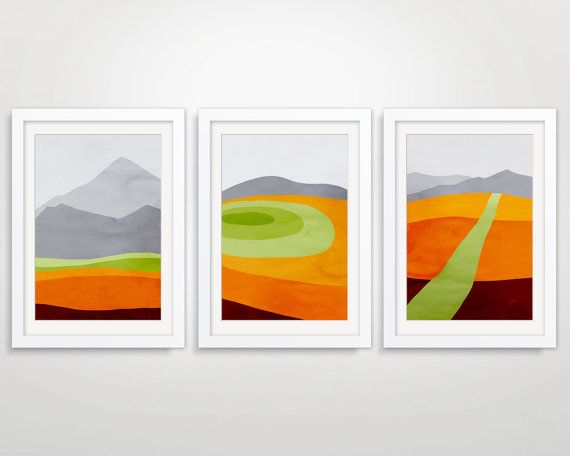 Mid Century Modern Posters Abstract Landscape Minimalist Posters Large Wall Art Landscape Art Prints Abstract Art Landscape Orange Wall Art
