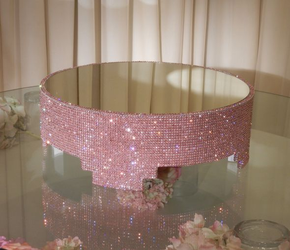 Crystal covered cake stand :  wedding crystal cake stand crystal cake stands crystal decor wedding cake stand cake stand black pink purple white silver cake reception Pink Stand In Showroom