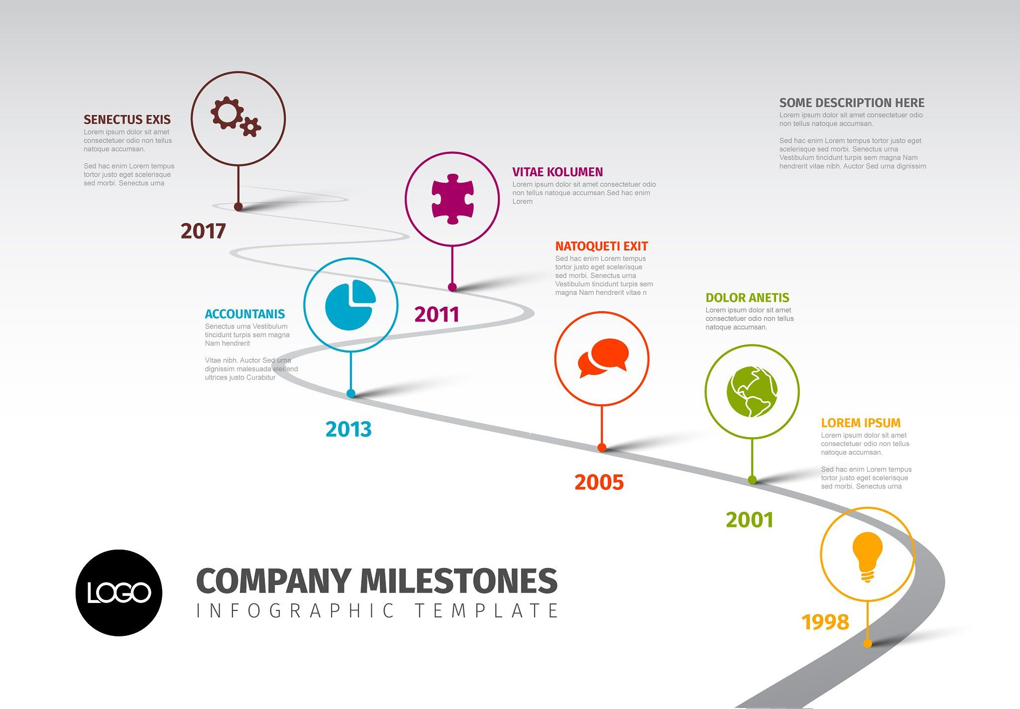 Timeline Template With Icons Timeline Infographic Powerpoint Timeline Template Free Timeline Design