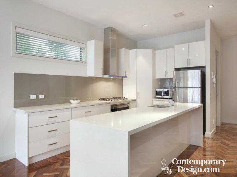 White Kitchen With Grey Splashback Beadboard Backsplash