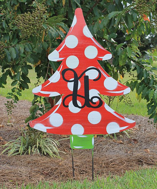 Red Polka Dot Christmas Tree Personalized Yard Stake Christmas Tree Yard Stakes Christmas Christmas Decorations