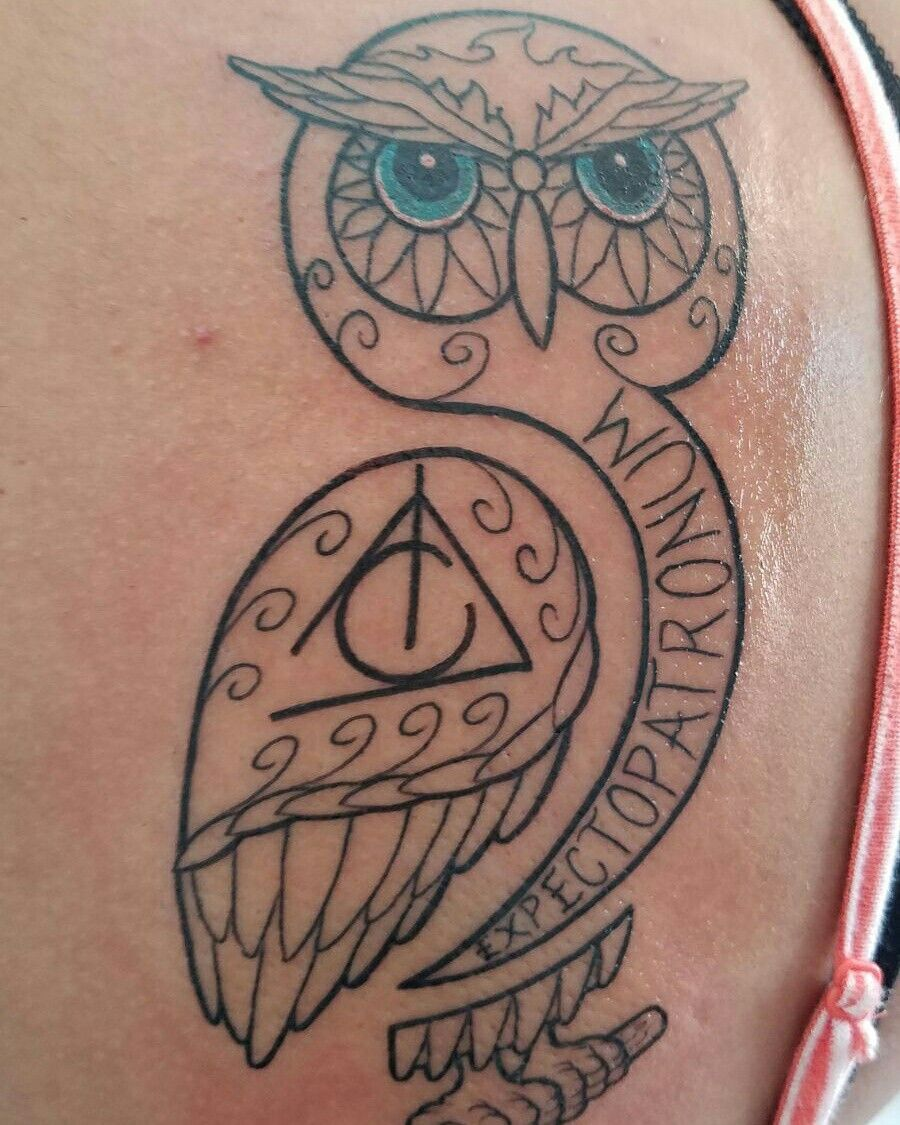 Hp Owl Tattoo By Dimas Reyes New Tattoos Tattoos Simple Hand Tattoos