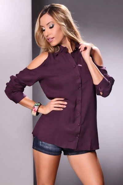 Plum Bare Shoulder Chest Pocket On Up Blouse Top Amiclubwear Shirt Clothing Online