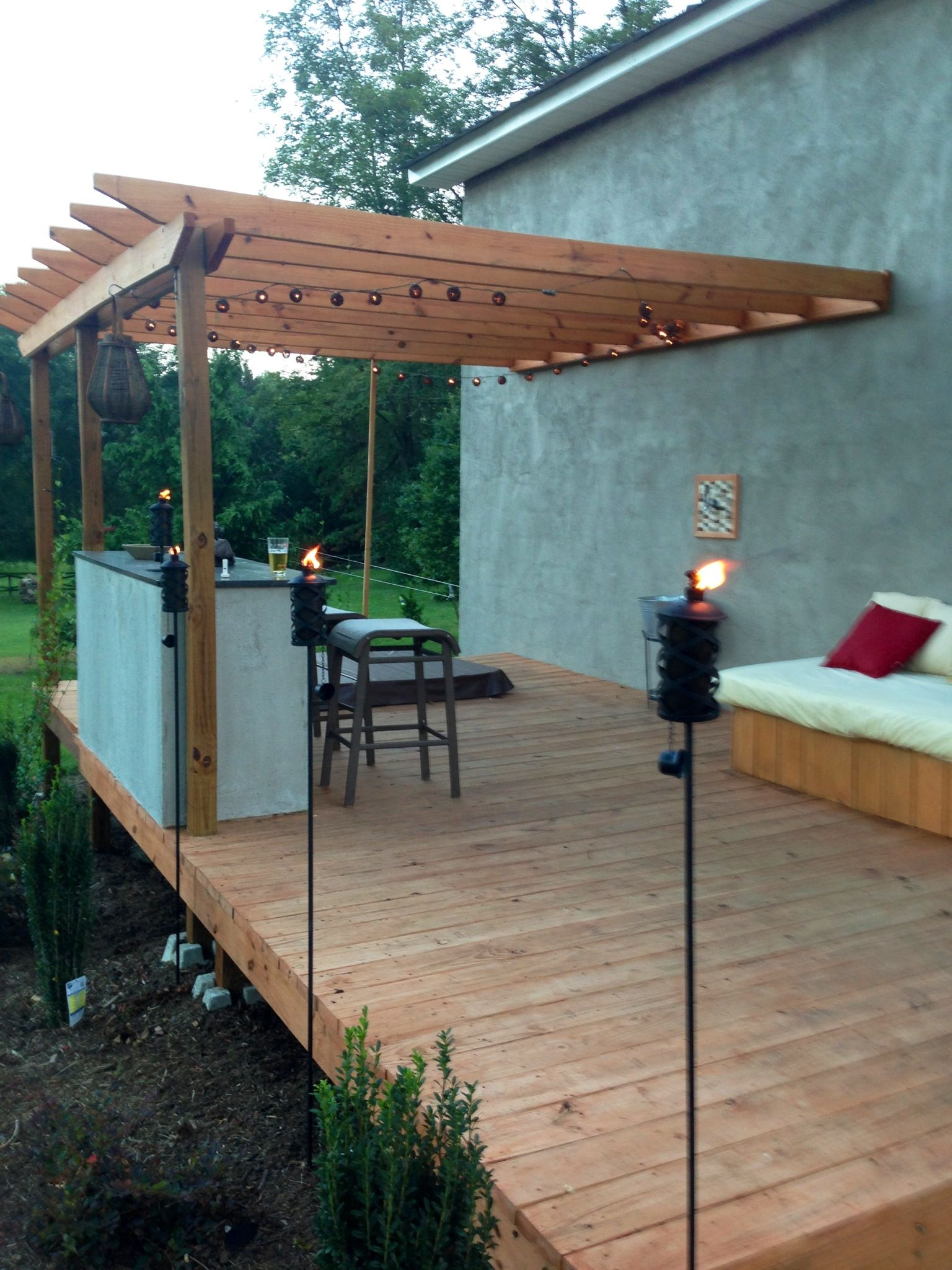 New deck. Beer tap. Kegerator. Bar. Day bed. Pergola. Party lights ...
