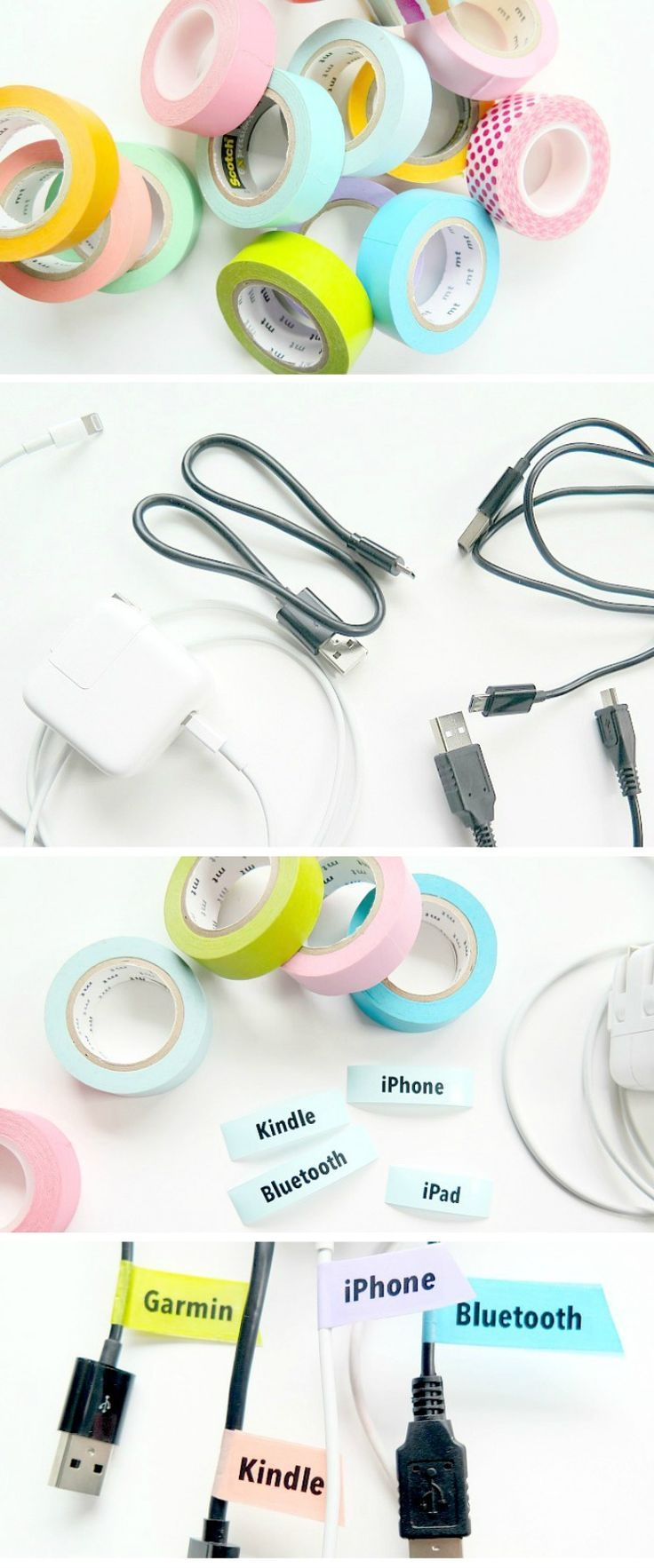 Another Easy Organizing Hack With Washi Tape: Electronics Cords Labels
