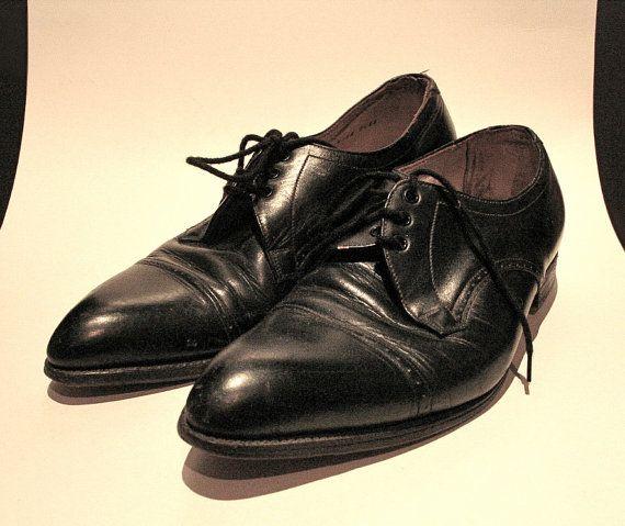 Vintage 1960s Mens Black Leather Dress Shoes Etsy Black Leather Dress Shoes Dress Shoes Men Mens Black Leather