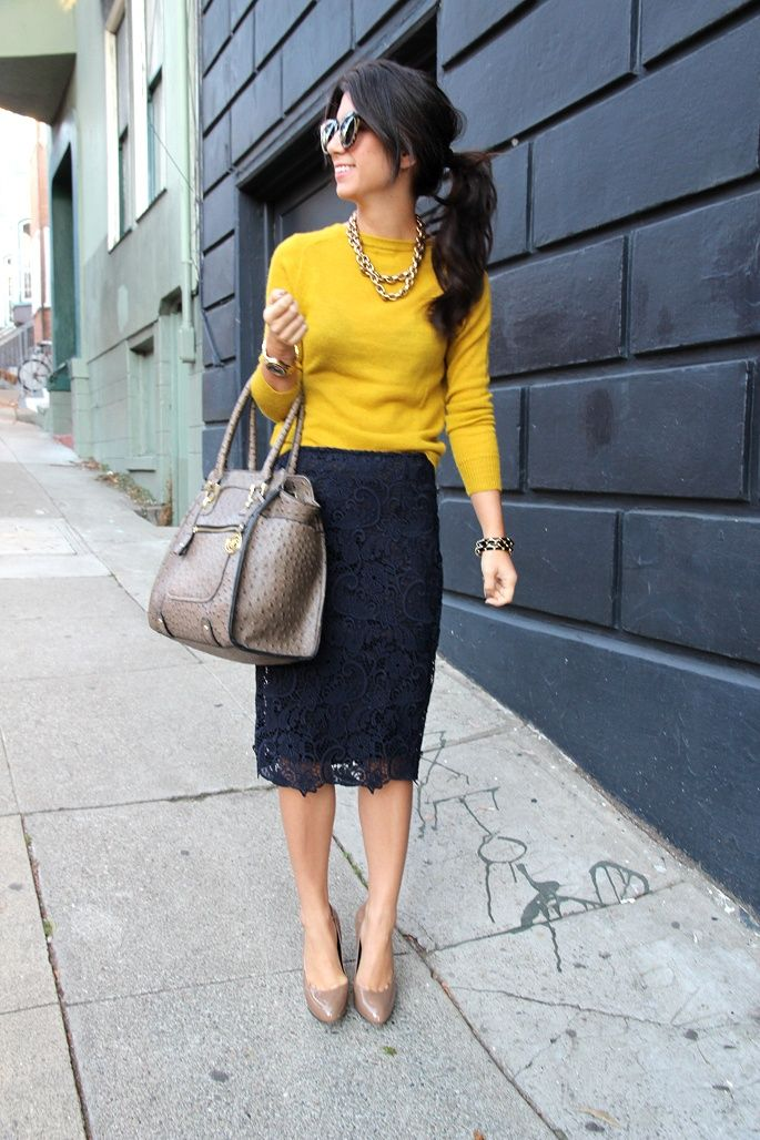 yellow sweater (or reversed cardigan) + navy lace skirt, taupe shoes. [I would remove jewelry except watch and smaller handbag]