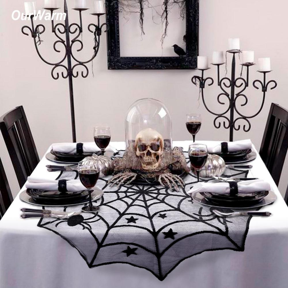 Halloween Lace Black Spider Web Party Tablecloth Table Cover NEW