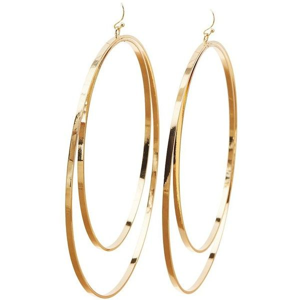Charlotte Russe Double Hoop Oversize Earrings 6 Liked On Polyvore Featuring Jewelry Gold Oversized Jewellery