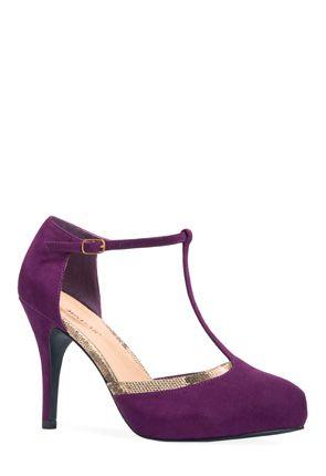 T-strap closed toe heel in a beautiful velvety purple plum color. Classy! 61446dda6