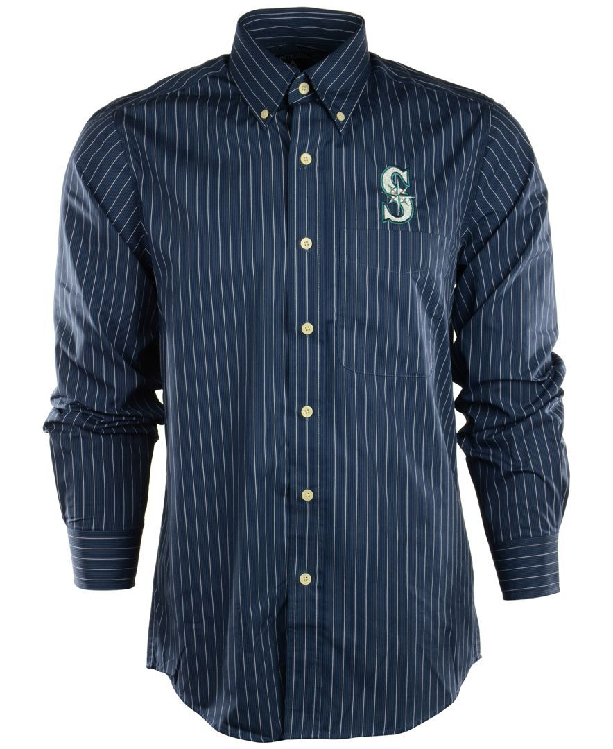 17a1f309f6956 Antigua Men s Long-Sleeve Seattle Mariners Button-Down Shirt ...