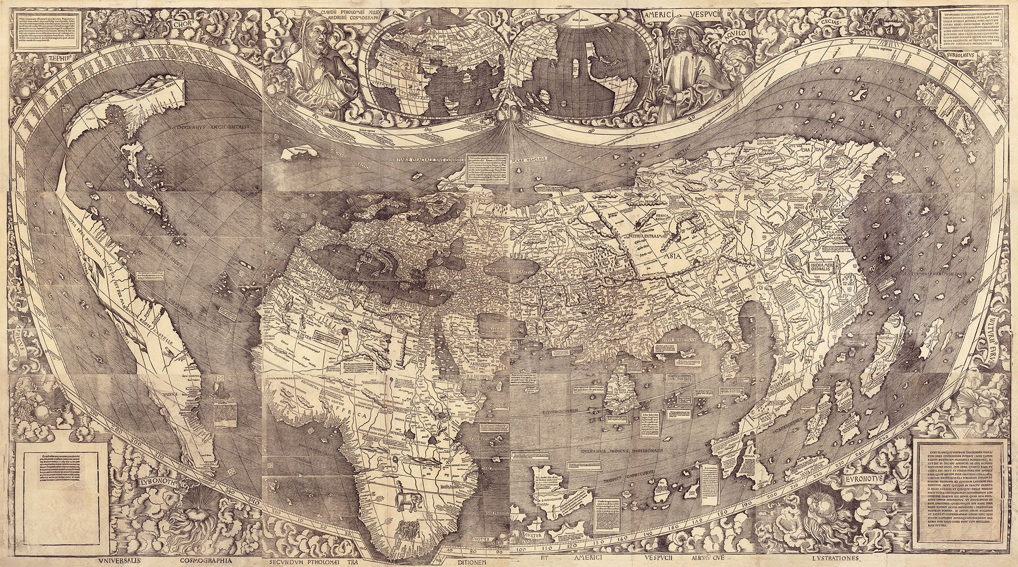 World 1507 martin waldseemller martelluss map was also a big the waldseemller map universalis cosmographia is a printed wall map of the world by german cartographer martin waldseemller originally published in gumiabroncs Image collections