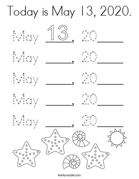 Today is May 13, 2020 Coloring Page - Twisty Noodle in ...