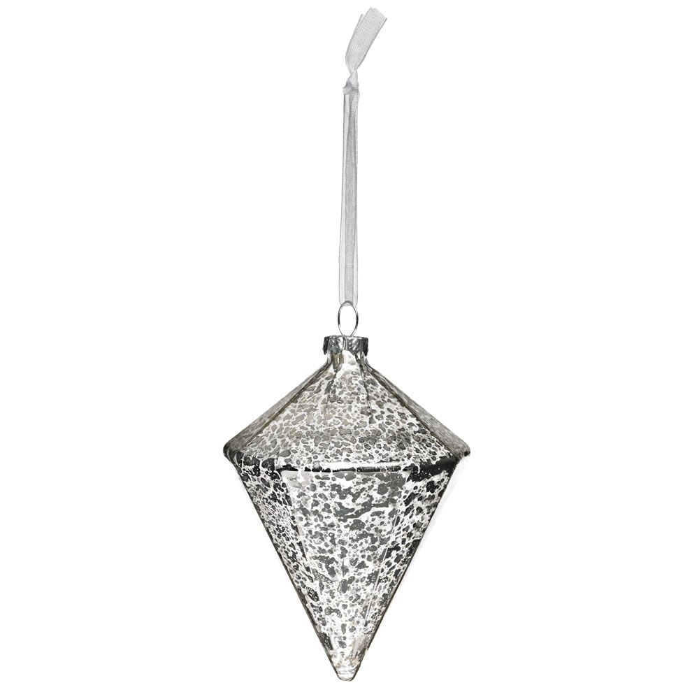 Wilko Glass Bauble Christmas Decoration Lantern Antique