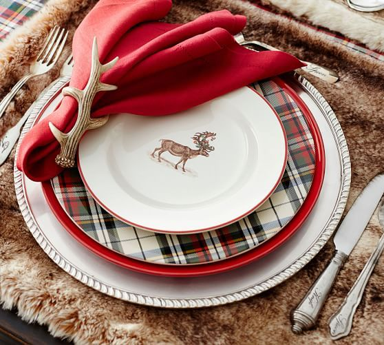 POTTERY BARN~RED BLACK BUFFALO CHECK PLAID DINNER NAPKINS SET OF 4~NWT