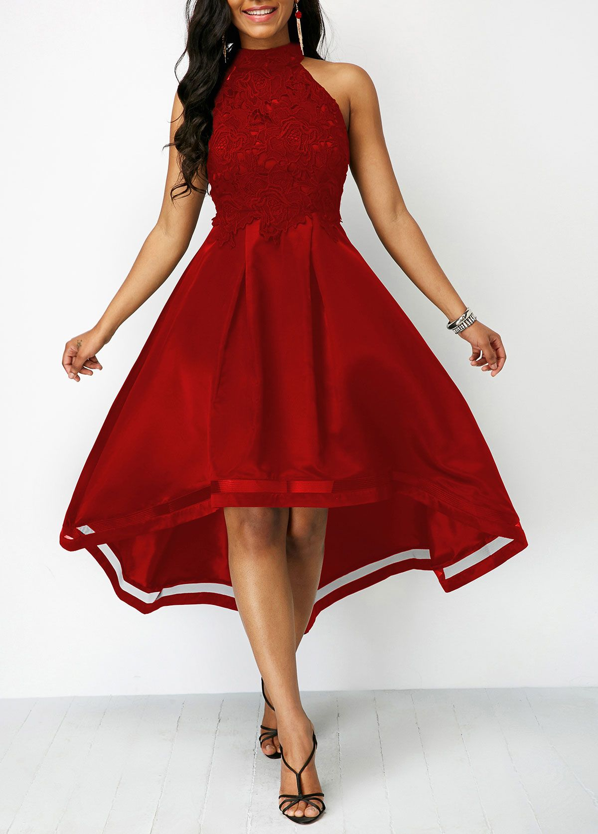 Lace Panel Wine Red Sleeveless High Low Dress Rosewe Com Usd 44 98 In 2021 Red High Low Dress Womens Dresses Casual Dresses [ 1674 x 1200 Pixel ]