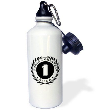3dRose Worlds Greatest Boss award. #1 Boss. Fun Black and white badge graphic, Sports Water Bottle, 21oz