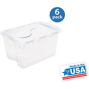 Sterilite 48 Qt 45 L Hinged Lid Storage Box White Apartment Wish Shopping List Lid Storage Storage Baskets Basket