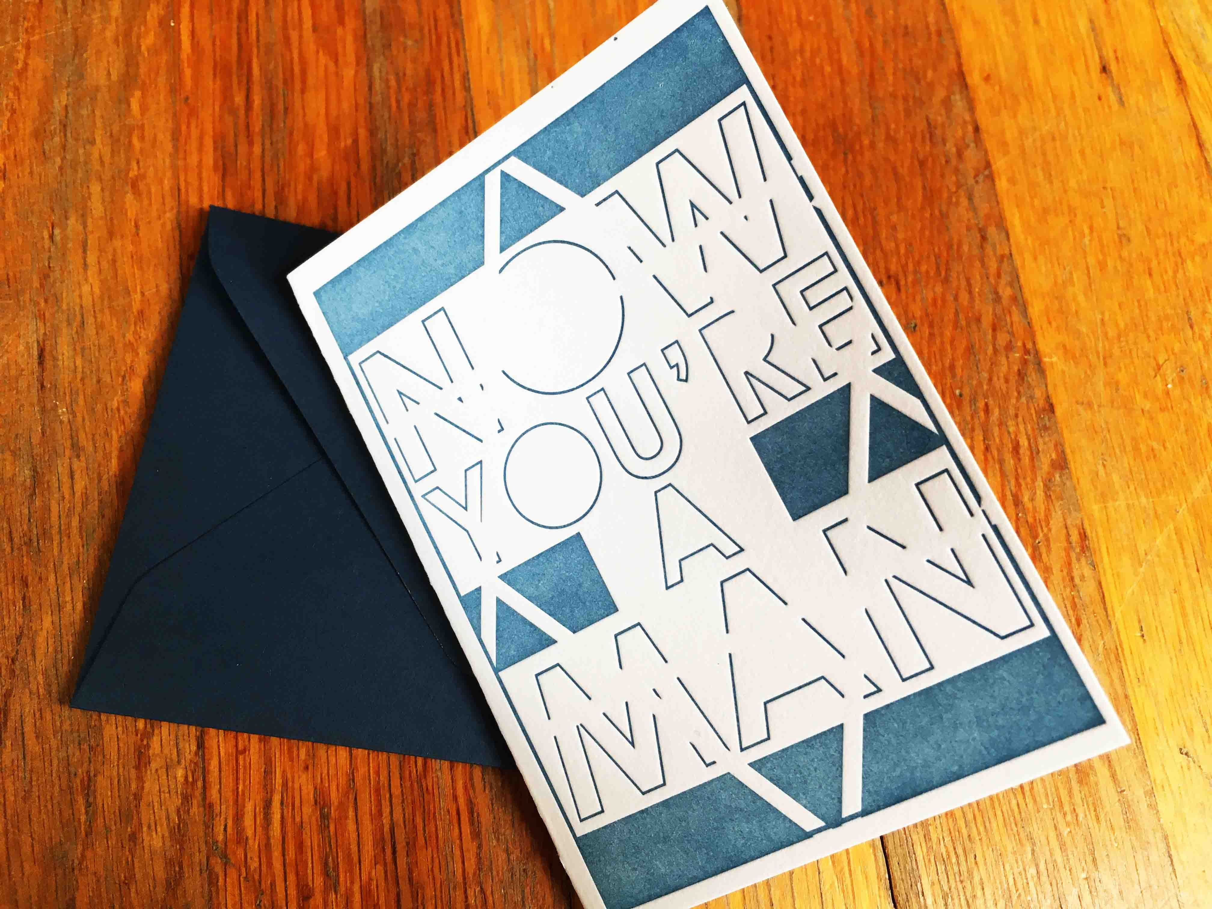 Letterpress Printed Bar Mitzvah Greeting Card Perfect To Go With Any