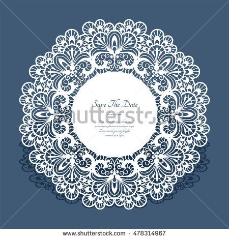 Round cutout paper frame, laser cut lace doily, save the date card