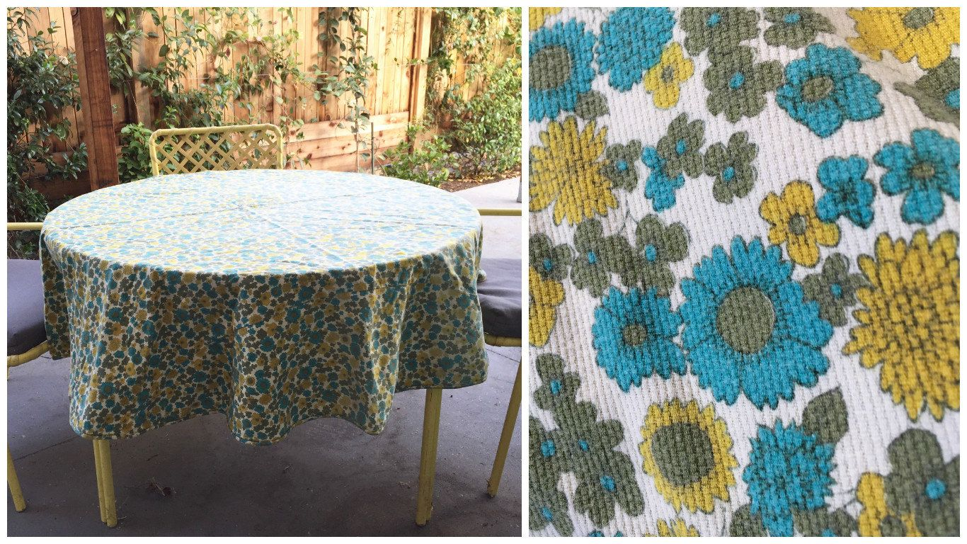 60 S Floral Print Circular Tablecloth 63 Round Cotton Corduroy By