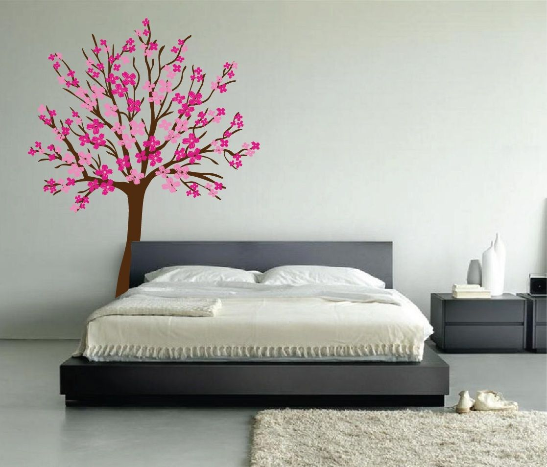 Large Wall Cherry Tree Nursery Decal Magnolia with Flower