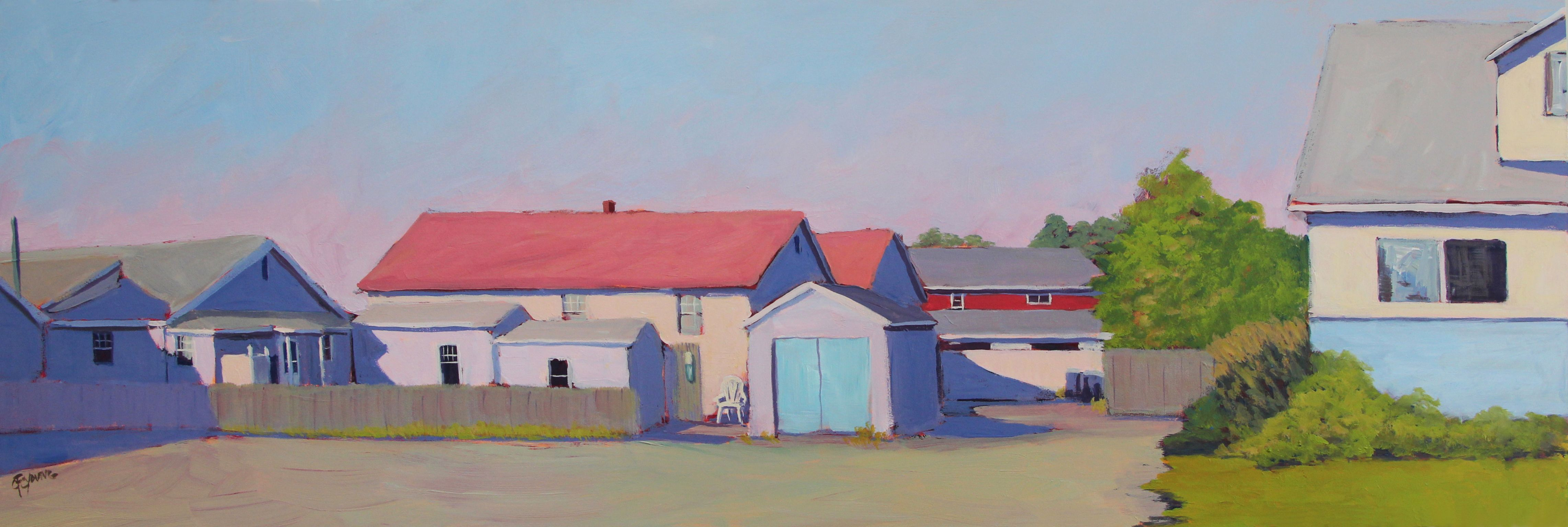 Hopper's Light Cluster of houses and sheds by the sea.