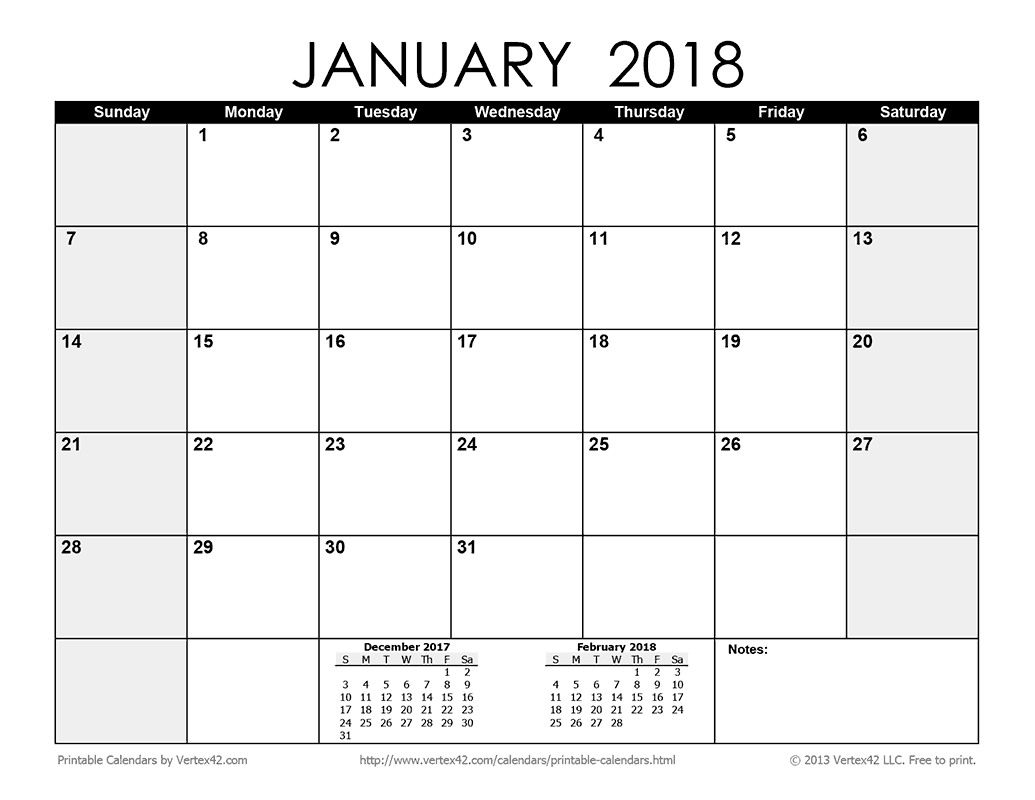 Download a free printable monthly 2018 calendar from for Calendar template by vertex42 com