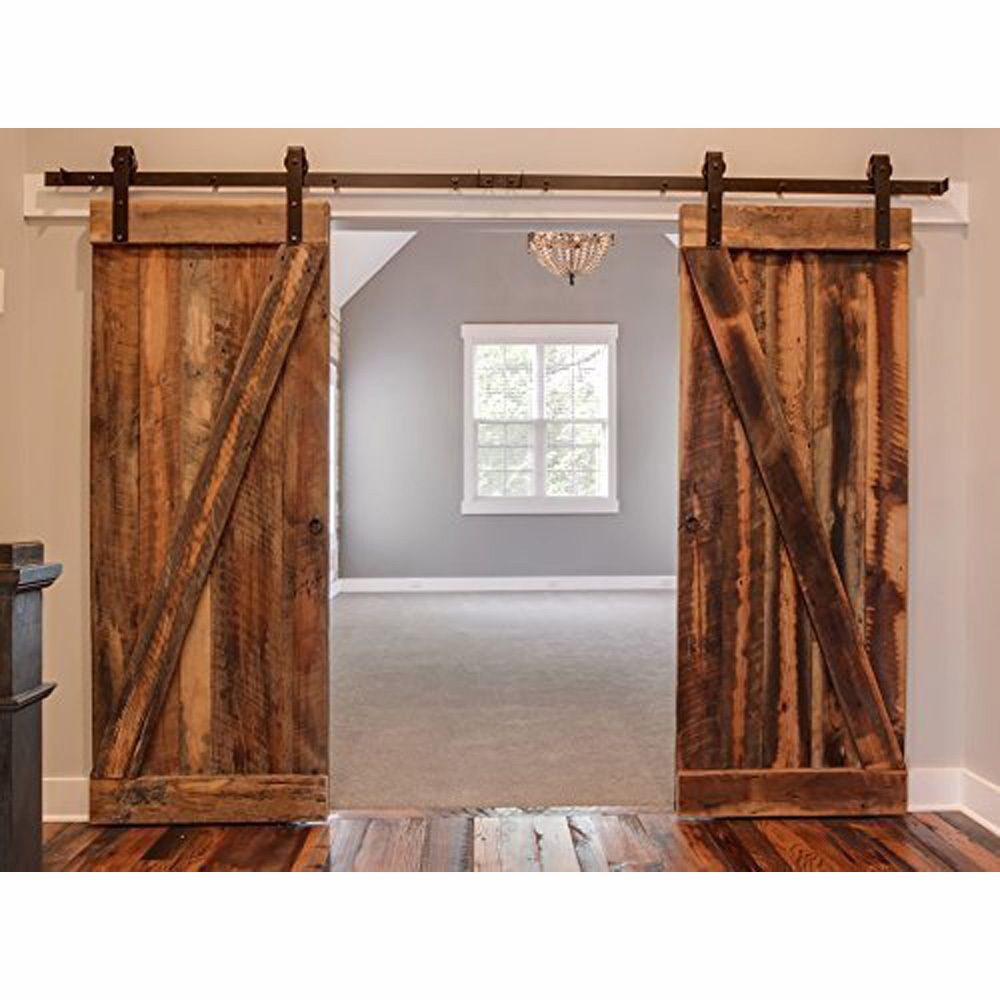 Black Country Barn Wood Steel Sliding Double Door Hardware Closet Set American Style 8ft 10ft 12f Barn Door Designs Double Sliding Barn Doors Double Barn Doors