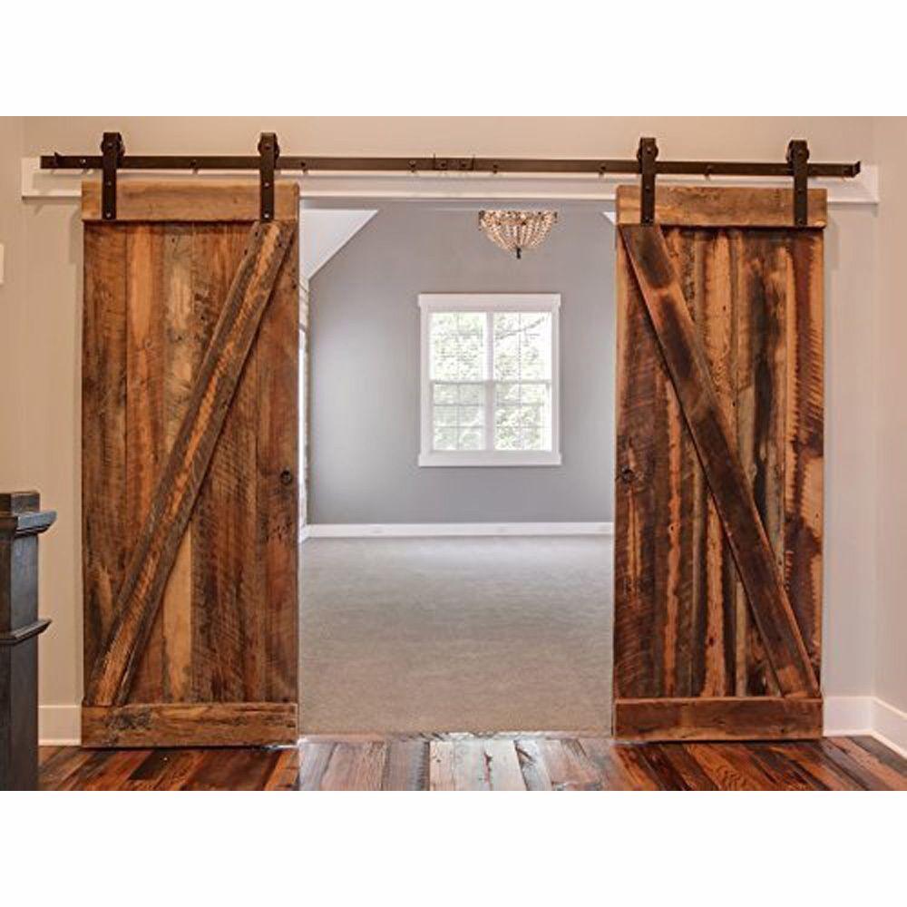 Black Country Barn Wood Steel Sliding Double Door Hardware Closet ...