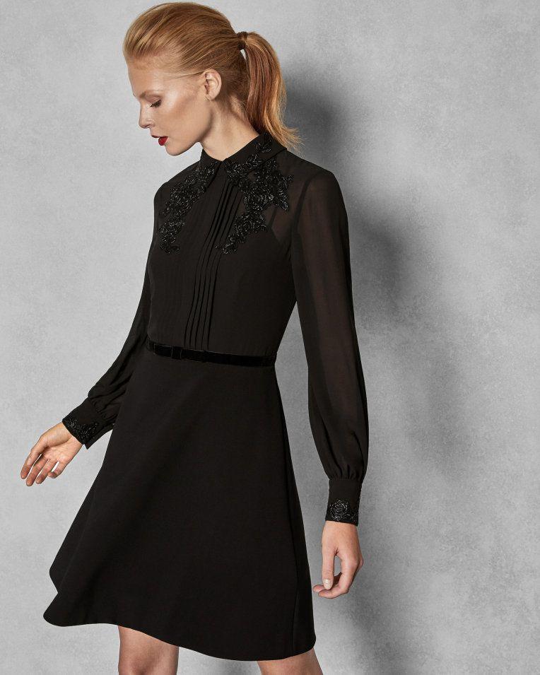 4ea7213fa Embellished dress with collar - Black