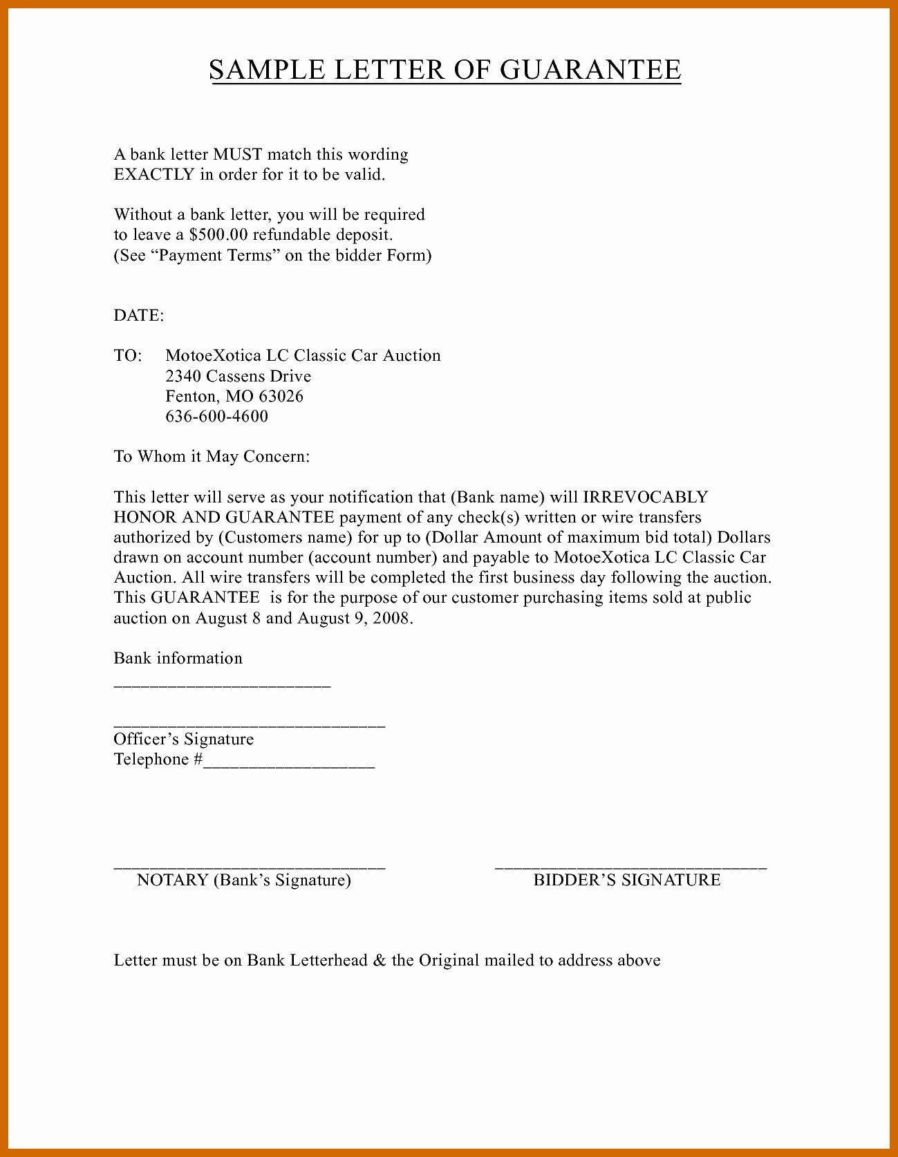 Letter Of Guarantee Template Elegant 4 5 Guarantee Letter Sample Lettering Letter Writing Template Executive Summary Template
