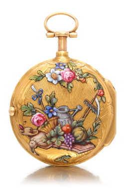 Huau St. Amant A RARE GOLD AND ENAMEL QUARTER REPEATING AN OPEN-FACED WATCH CIRCA 1750