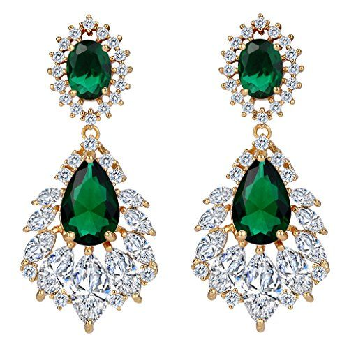 Clearine Women's Wedding Bridal Cubic Zirconia 1920s Peacock Feather Shaped Chandelier Dangle Earrings bPLhfuqR5