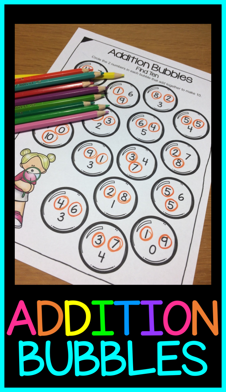 Addition Worksheets Bubbles Activity For Addition Facts Practice Within 20 Addition Worksheets Addition Facts Bubble Activities [ 1249 x 720 Pixel ]