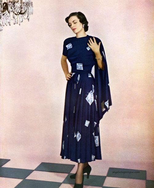 1abbefb49ff Enka Rayon - dress by Martini Designed 1948 vintage fashion style navy blue  dress white novelty print full skirt late 40s early 50s pleats short  sleeves ...
