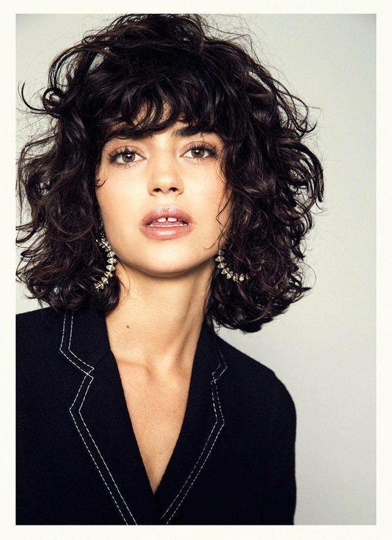 Curly Hair Bangs Short Bob Pinterest Short Hairstyles Curly Hair Curly Hair Styles Medium Hair Styles Hair Styles