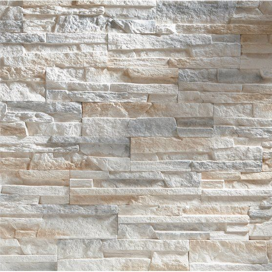 Steintapete - Vliestapete - Asian Stonewall - Steinmauer aus großen - steintapete beige wohnzimmer