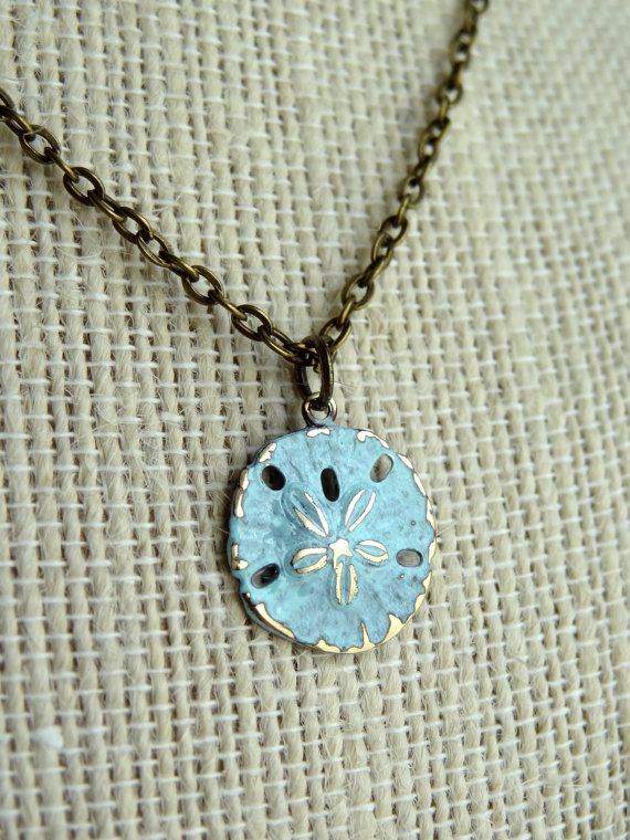 Sand Dollar Necklace Gold And Turquoise Beach Jewelry Verdigris Beachy Patina Shabby Chic Antique Br Pendant Aqua