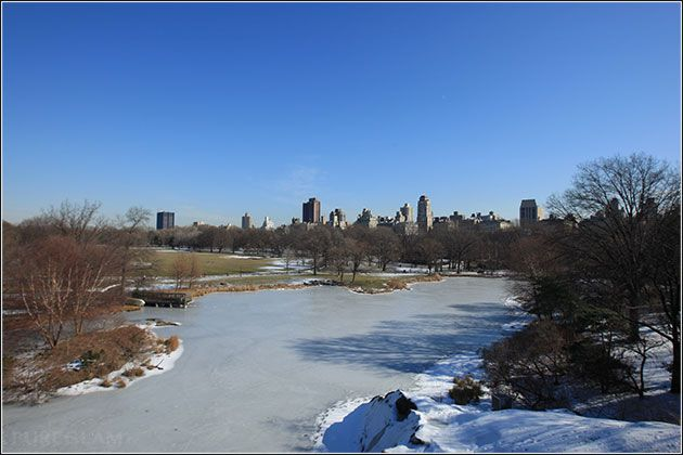 New York City skyline with winter impressions – Manhattan – Central Park NYC - lake, pond, frozen, blue sky with clouds, winter trees