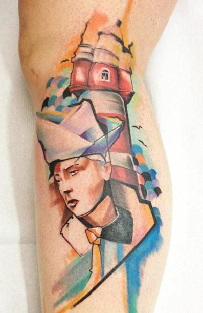 Abstract Face Tattoo by Voller Kontrast - http://worldtattoosgallery.com/abstract-face-tattoo-by-voller-kontrast-3/
