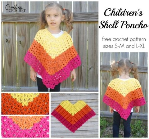 Pattern Childrens Shell Poncho - Cre8tion Crochet